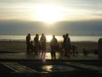 People in evening light