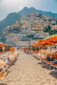 Beach and town, Positano, Italy