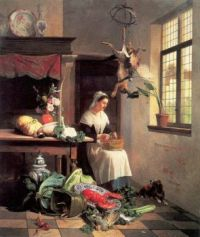 David Emile Joseph de Noter--A Maid In The Kitchen