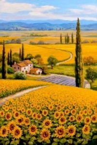 """Sunflowers in Tuscany"", lovely oil painting by Sum King"