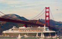 Queen Mary 2 under the Golden Gate bridge San Francisco
