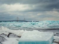 blue ice in Mackinac Straits