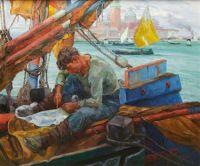 Pieretto Bianco Bortoluzzi (Italian, 1875–1937), Mending the Sails (1926)