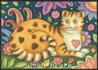 Cat with hearts by Susan Brack