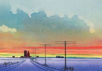 Day Break on the Prairies, 1968, watercolour on paper board