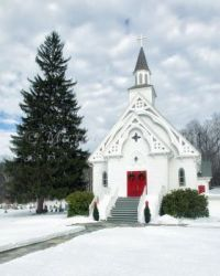 Winter Country Church, Connecticut, USA