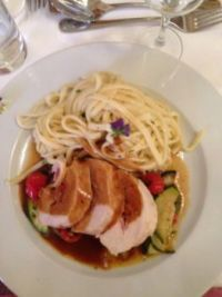 Turkey Breast Roulade filled with Ham, Leek & Bell Pepper, on zucchini-tomato ragout with creamy sherry sauce & noodles