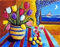 sailboat and flowers