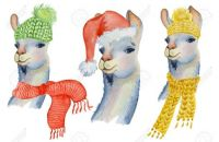 91025119-christmas-lama-illustration-with-santa-hat-and-scarf-winter-watercolor-animals-cute-kids-illustratio