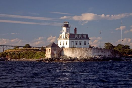 Rose Island Lighthouse in Newport Harbor, Rhode Island
