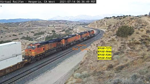 BNSF-7271, 5045, 5281, & 5269 at Hesperia,CA/USA