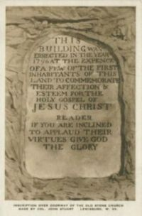 The inscription over the doorway of Old Stone Presbyterian Church