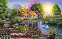 Beautiful cottage, pretty flowers, pond with swans!