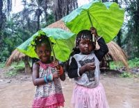 _119655112_01_gettyimages-1234205791_guinea_976 Children hold leaves to protect themselves during a rain shower on Sunday in Guinea.