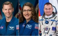 NASA astronauts Nick Hague & Christina Hammock Koch, and Russian cosmonaut Alexey Ovchinin