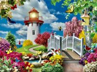Spring lighthouse, pretty flowers, birds, butterflies, swan and sailboat!