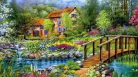 flowers-beautiful-cottage-flowers-paintings-lake-sky-bridge-nature-flower-river-spring-drawing-house-pond-art-cotaage-