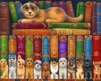 """Dog Bookshelf""-Randal Spangler"