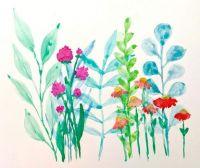A Young Artist's Watercolor Wildflowers, Amaya Kim-Senior, 2021