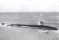 USS Guardfish, SSN-612, grounded on a reef