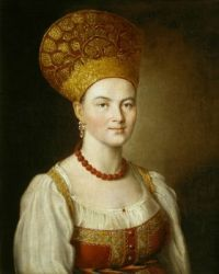 Ivan Argunov Portrait of an Unknown Woman in Russian Costume 1784