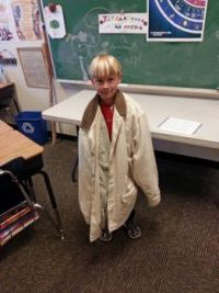 Little Noah with his Teacher's Jacket