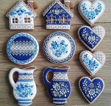 blue and white decorated cookies for tea