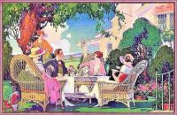 Themes Vintage illustrations/pictures - Tea in Garden