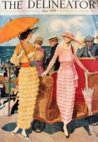 Fashionable Long Dresses at the Beach -1919