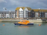 Lifeboat moored at Eastbourne Marina