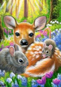 Fawn, bunny and mouse.