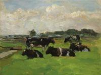 Piet Mondrian (Dutch, 1872–1944), Polder Landscape with Group of Cows