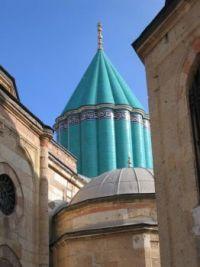 The structure built above Mevlana's (Rumi's) Tomb, Konya, Turkey.