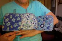 Potholders made from mother's old aprons & bias tape