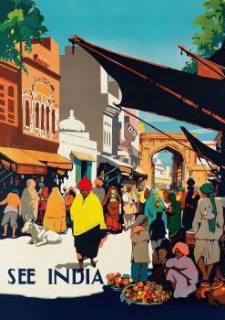 India Village Vintage Travel Poster