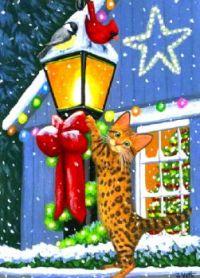 Bengal Kitten on a Christmas Lamp Post