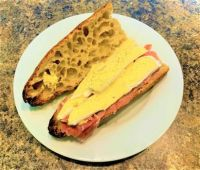 Lunch - Butter, Brie and Prosciutto on a Baguette