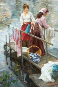 Laundry Day - Vladimir Gusav Art - Laundresses on the River