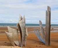 In Honor of Memorial Day 2021, Simple, Stark structures on the Normandy, France Sea Shore.