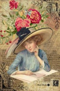 Themes Vintage illustrations/pictures - Lady writing a letter
