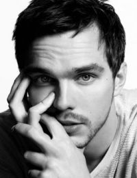 Nicholas Hoult in black and white
