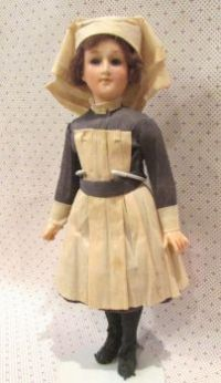 "Rare WWI Nurse 9 ""Doll (Her dress is paper mache)"