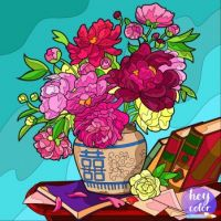 Peony Bouquet and Books