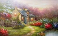 English stone cottage with spring flowers
