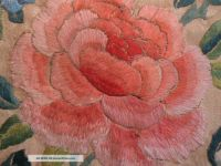 Antique Chinese Silk Satin Stitch Embroidered Panel of Flowers