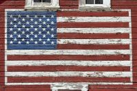 THEME ~ Barns & Fences ..... Flag painted on old barn