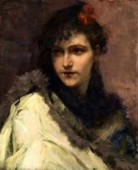 Charles Hermans  portrait of a young lady