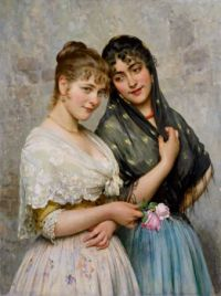 Two Venetian Women by Eugen Von Blaas