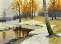 Snow by a Forest Stream by Mikhail Germashev (1900s)