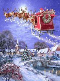 Christmas - Santa and Reindeer Flying